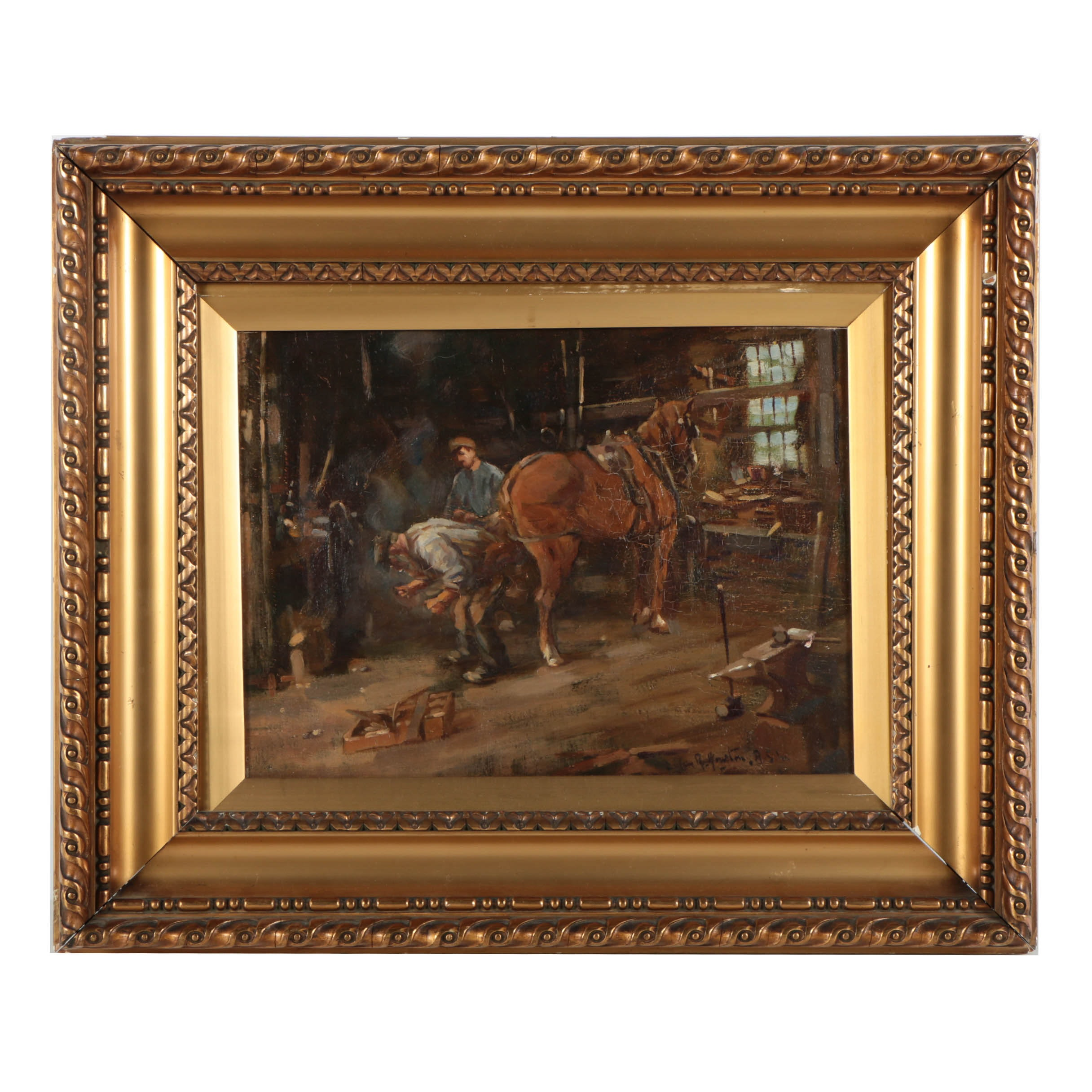"John Rennie McKenzie Houston Oil Painting on Canvas ""The Blacksmith Shop"""
