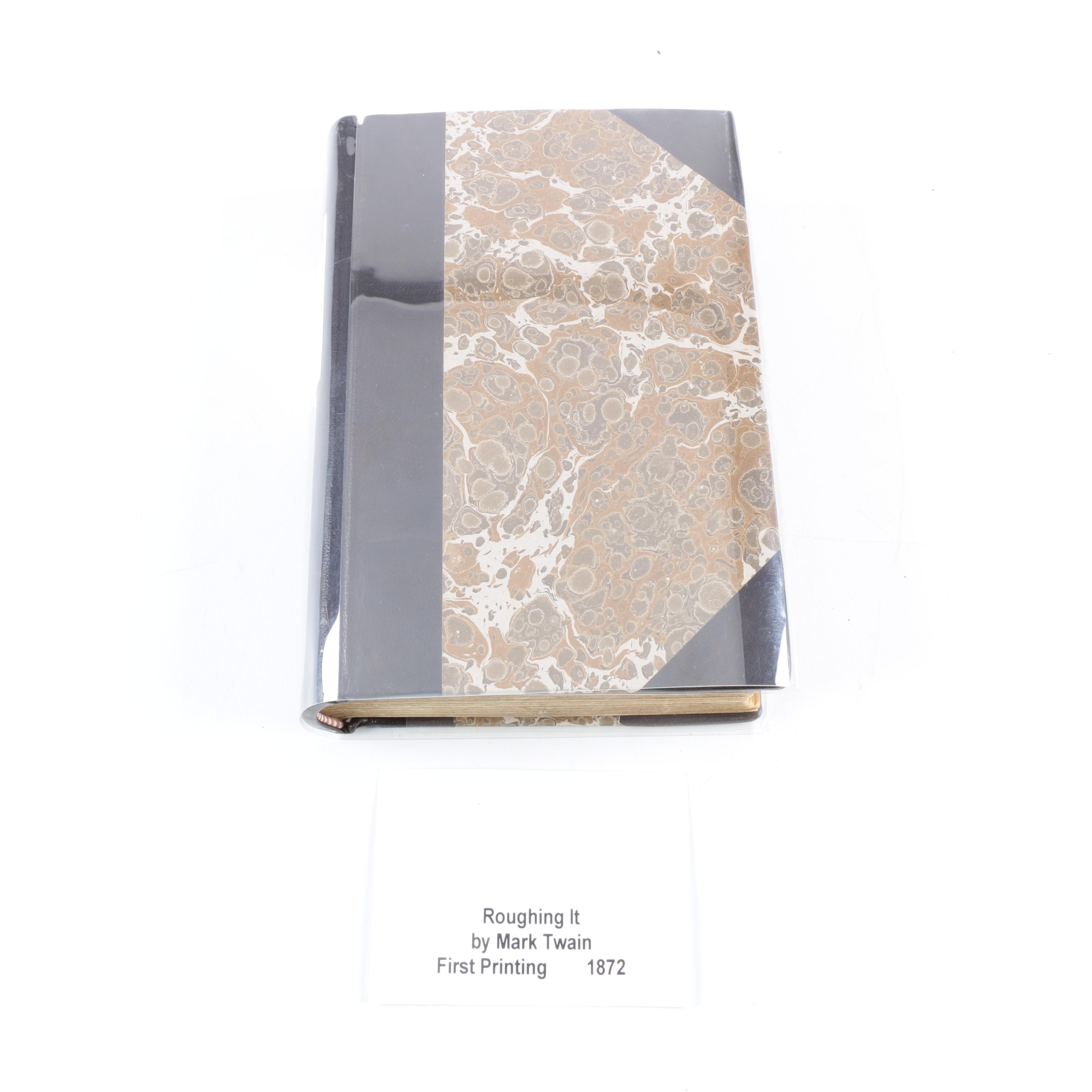 """1872 Leather and Marbled Board Bound """"Roughing It"""" by Mark Twain"""