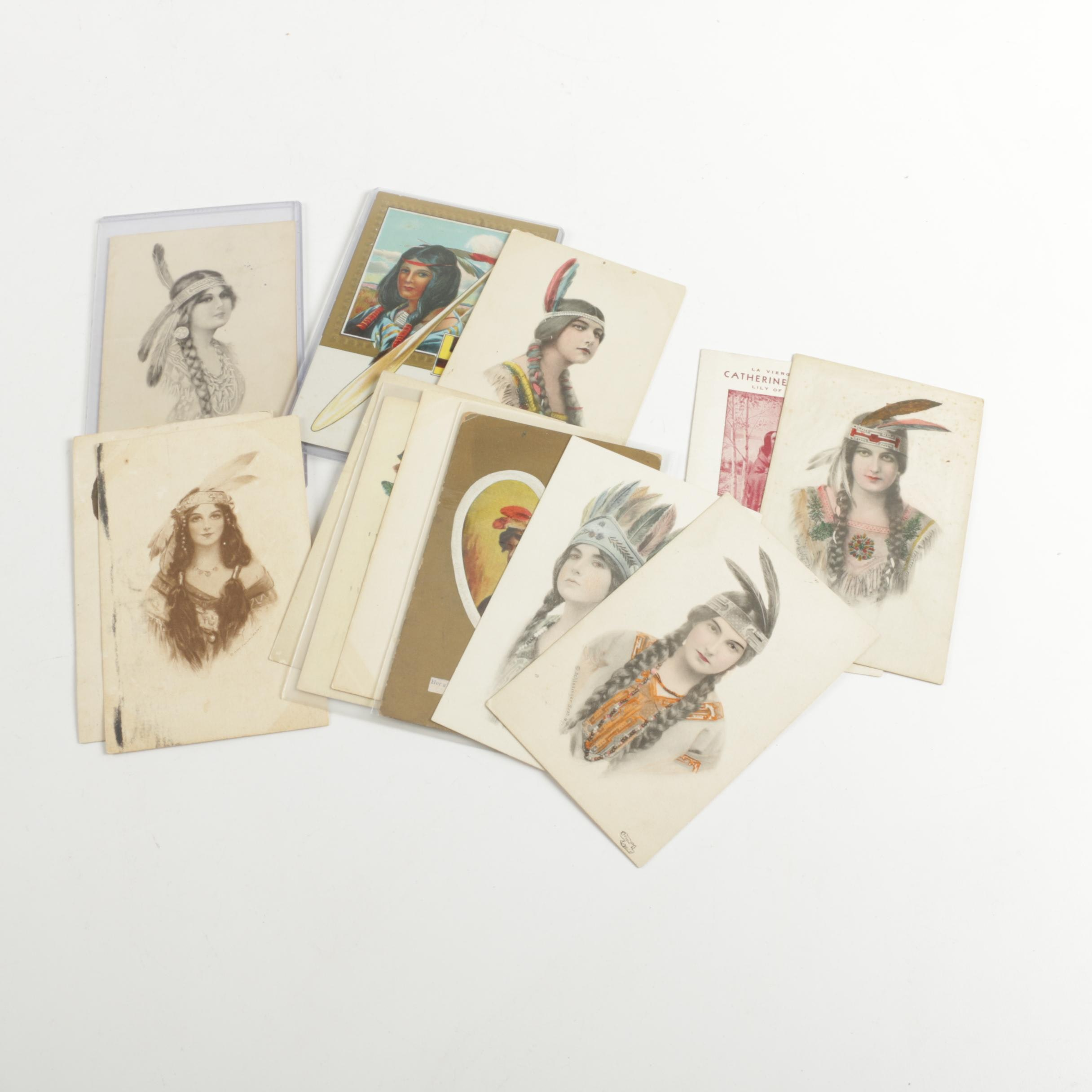 Circa 20th Century Native American Themed Postcards