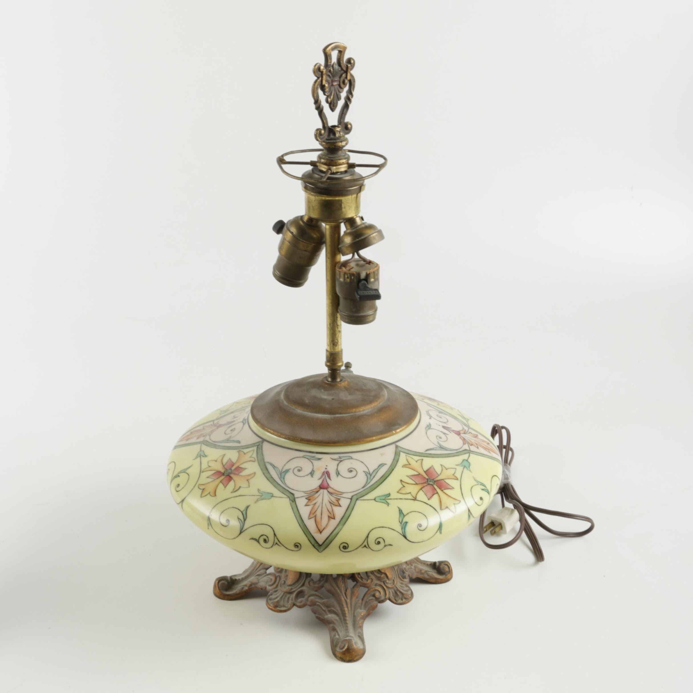 Vintage Floral Themed Ceramic and Brass Table Lamp