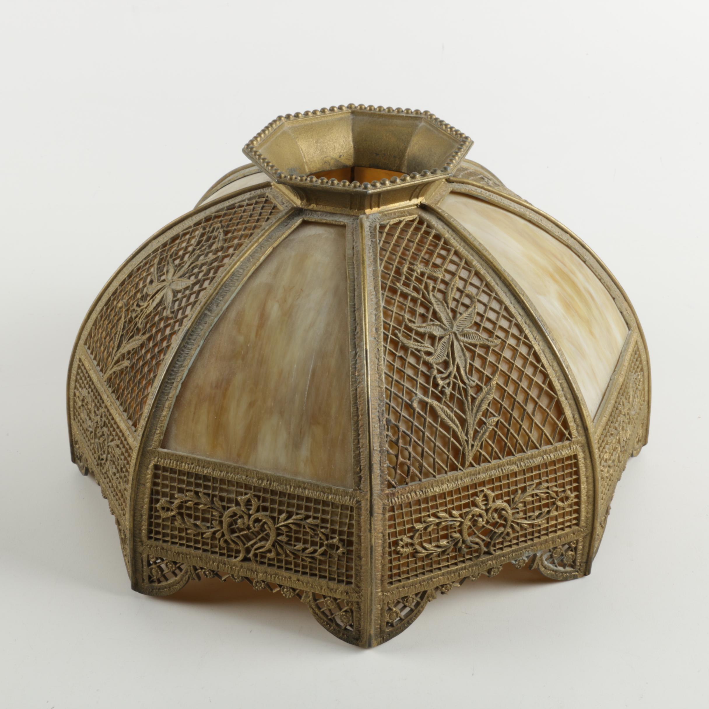 Bradley & Hubbard Brass and Slag Glass Lamp Shade