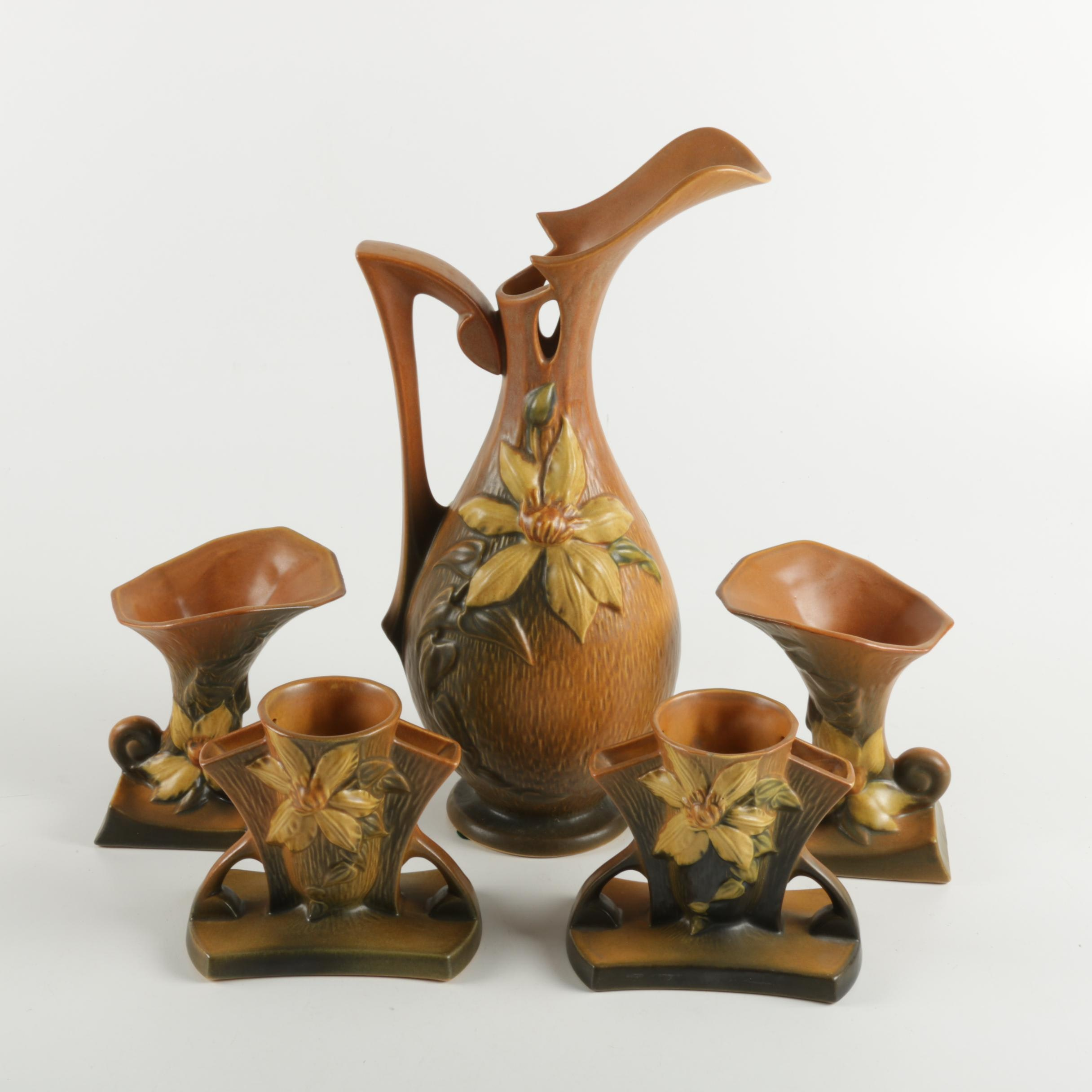 """Collection of Roseville Pottery """"Clematis"""" Bud Vases and Ewer"""