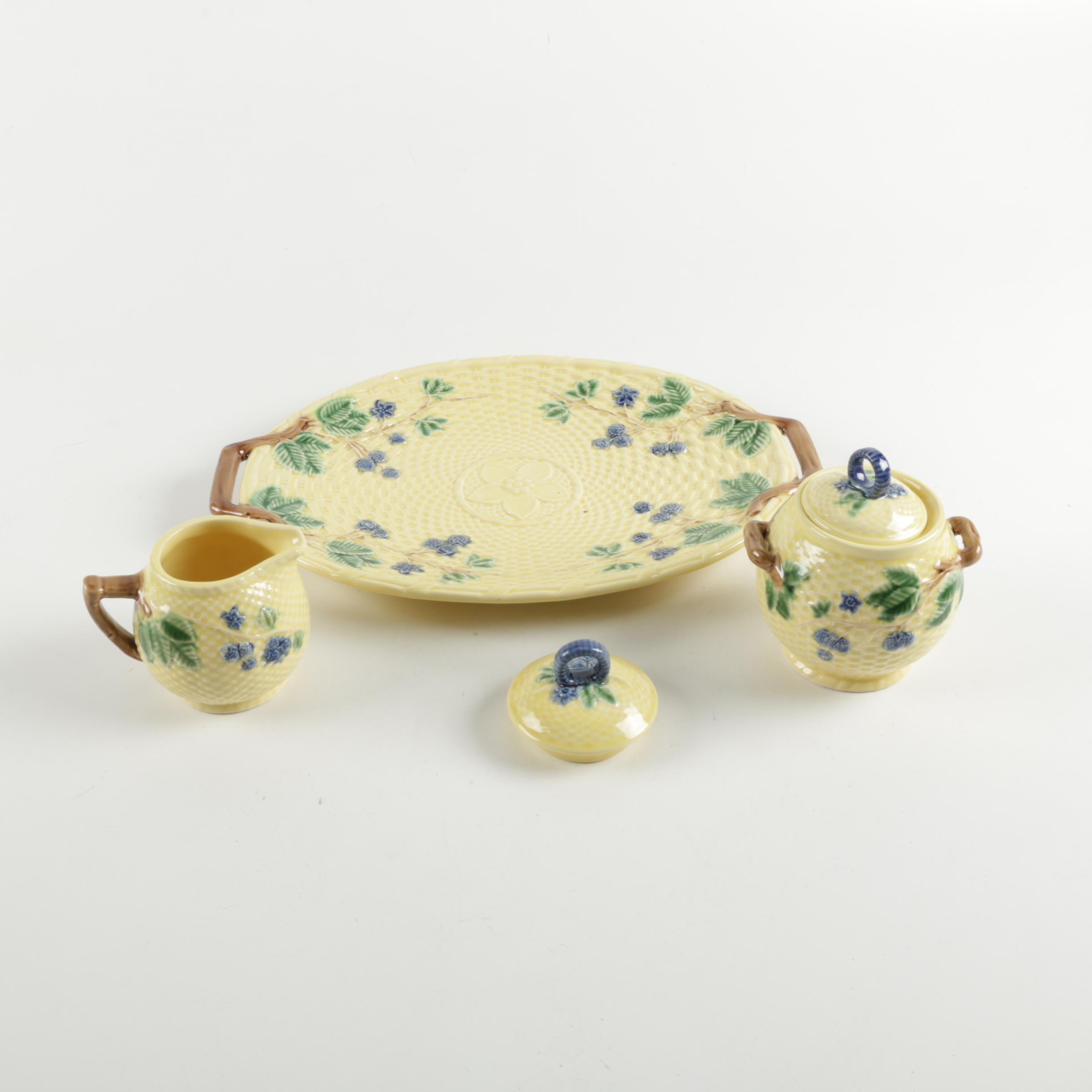 """Tiffany & Co. """"Blackberries"""" Ceramic Platter with Creamer and Sugar Bowl"""
