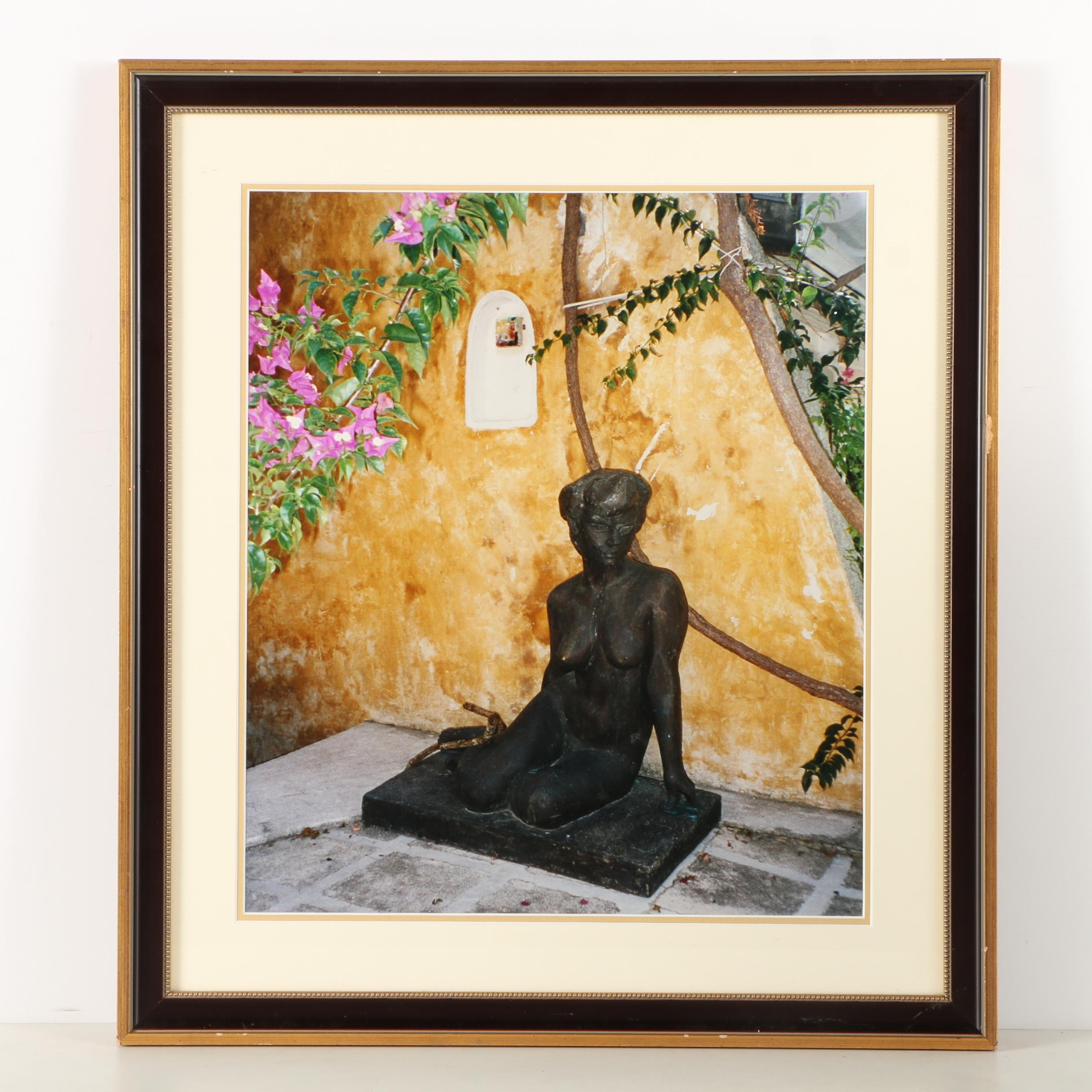 Digital Color Photographic Print of Bronze Female Figure in Courtyard