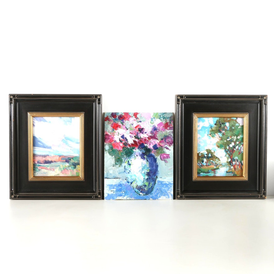 Three Original Jose Trujillo Impressionist Oil Paintings on Canvas ...