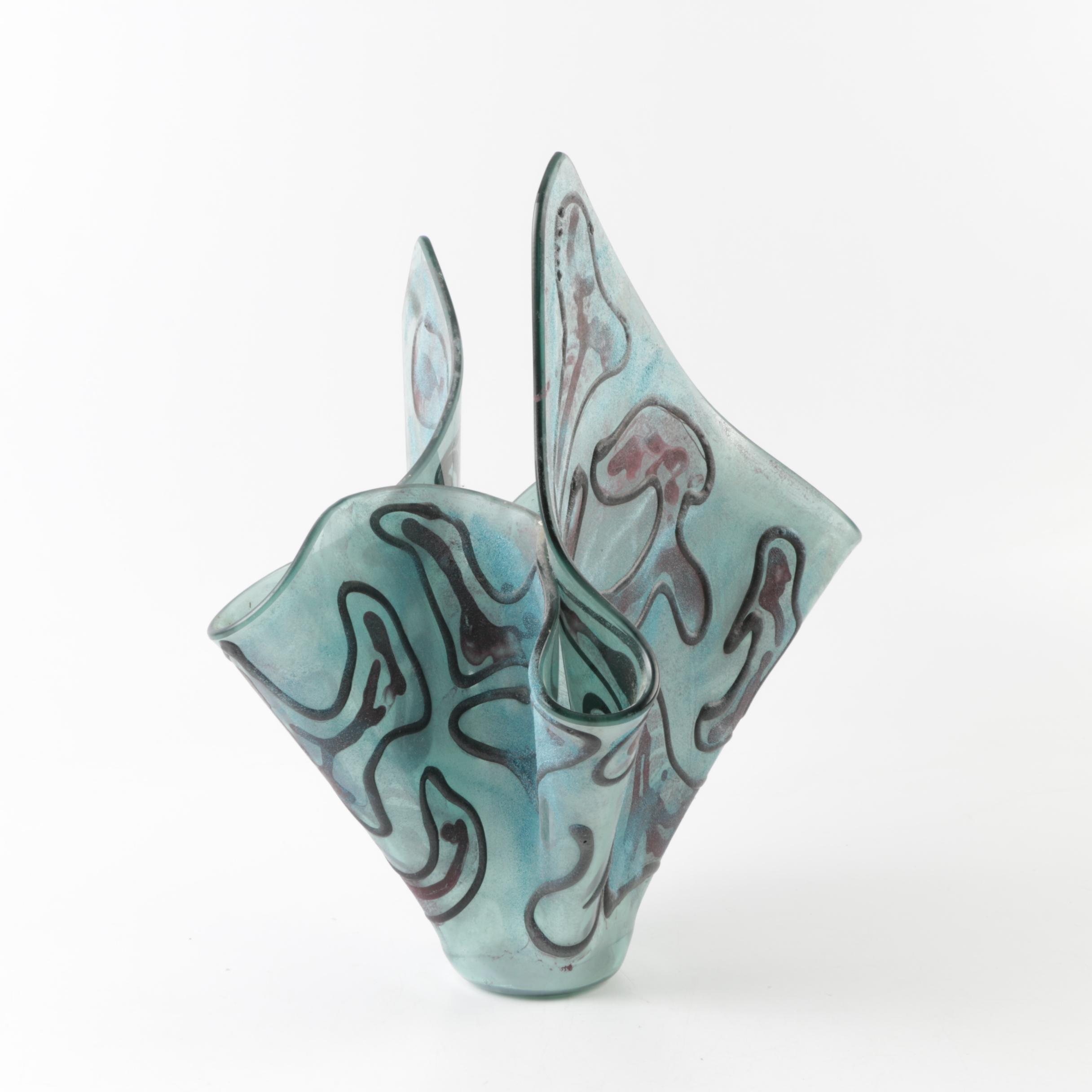 Abstract Art Glass Vase
