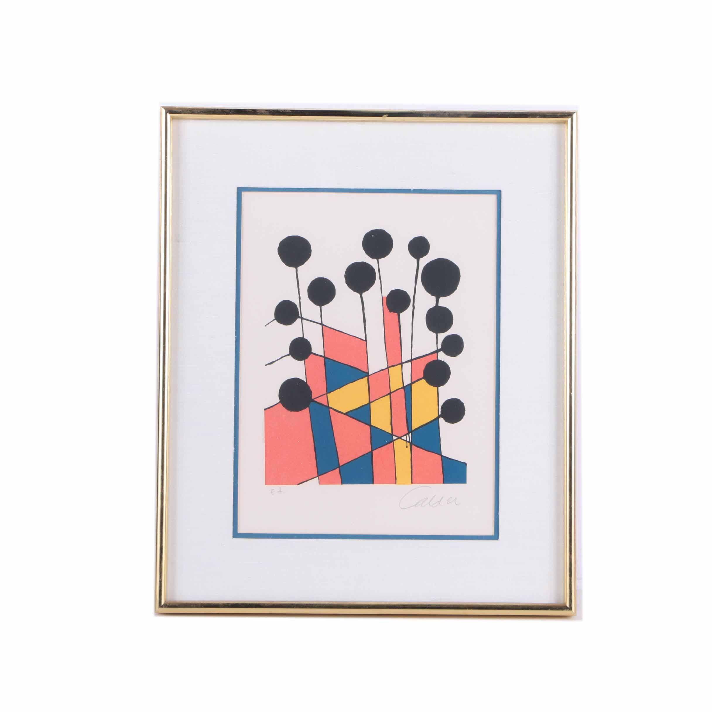 "Signed Artist Proof Alexander Calder Lithograph ""Balloons"""
