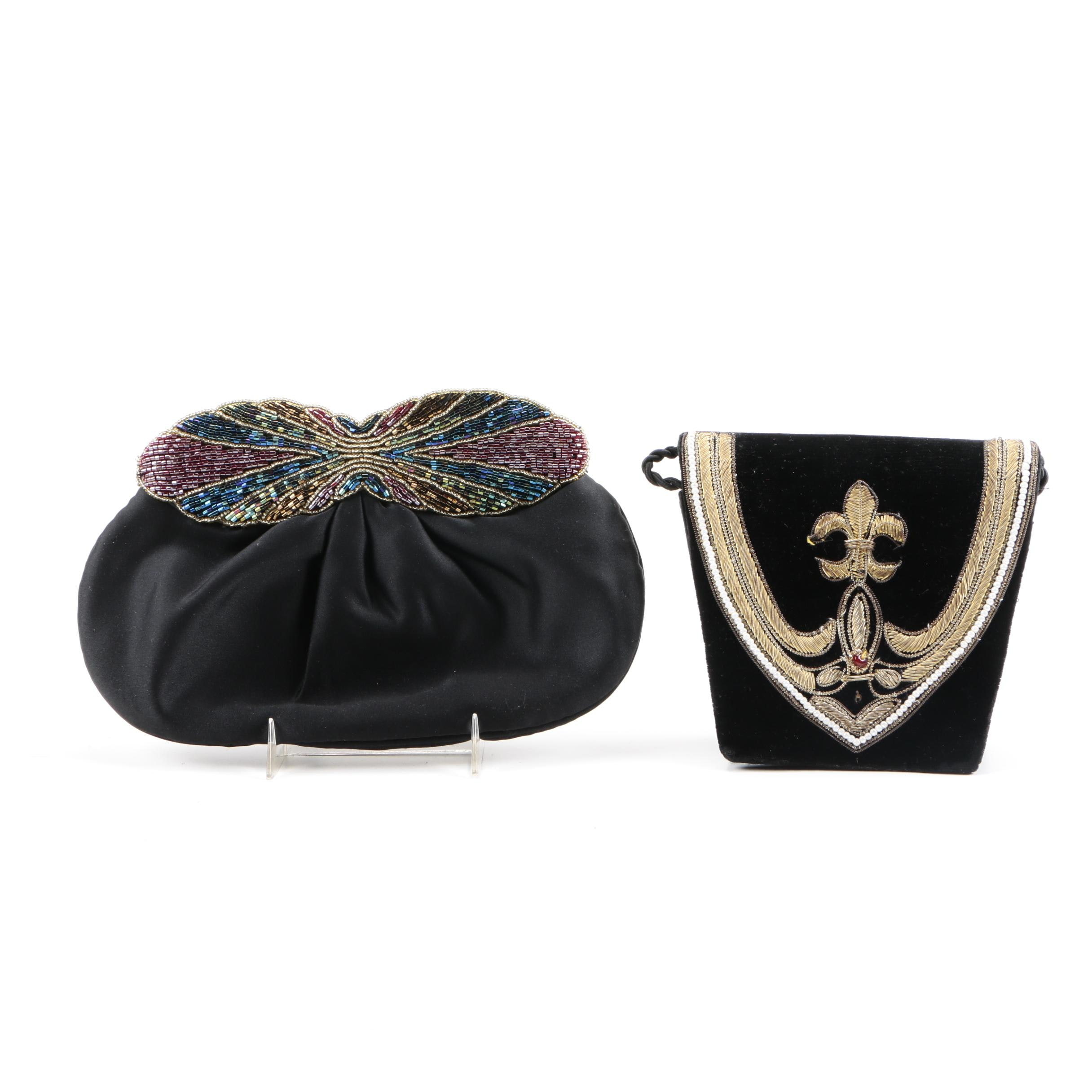 Pair of Black Beaded Evening Bags