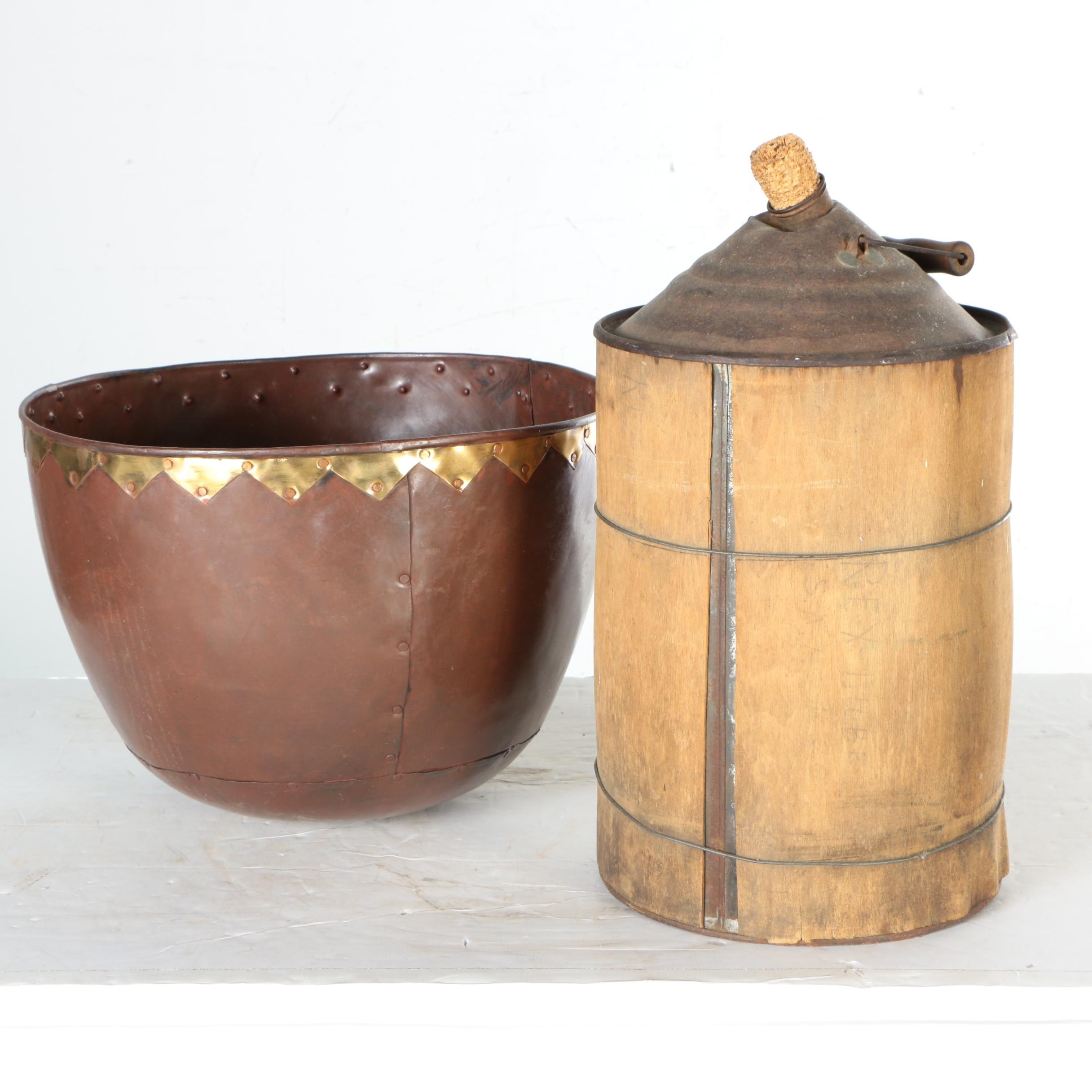 Wooden Water Container with Metal Bowl