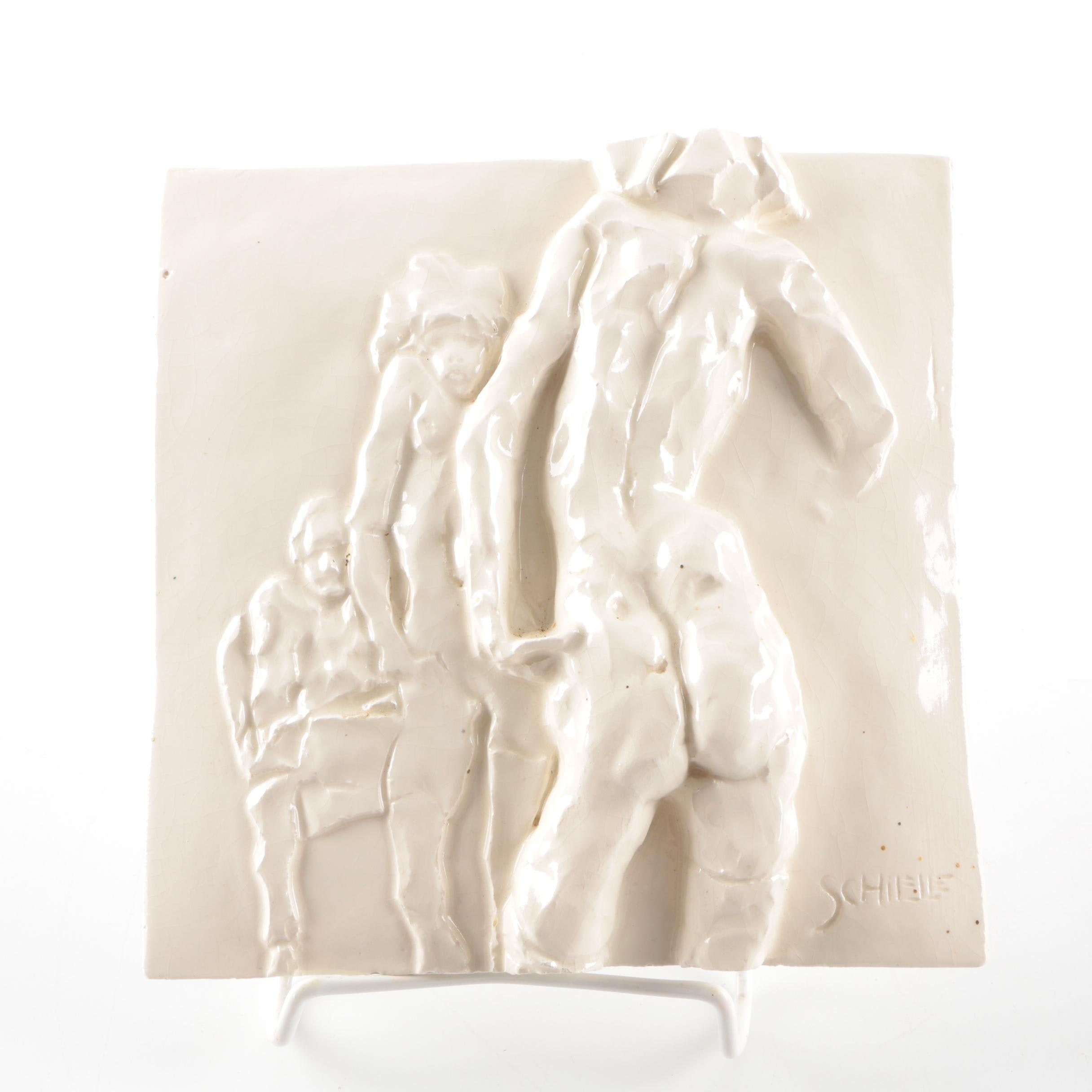 Sculpted Tile After Egon Schiele Drawing