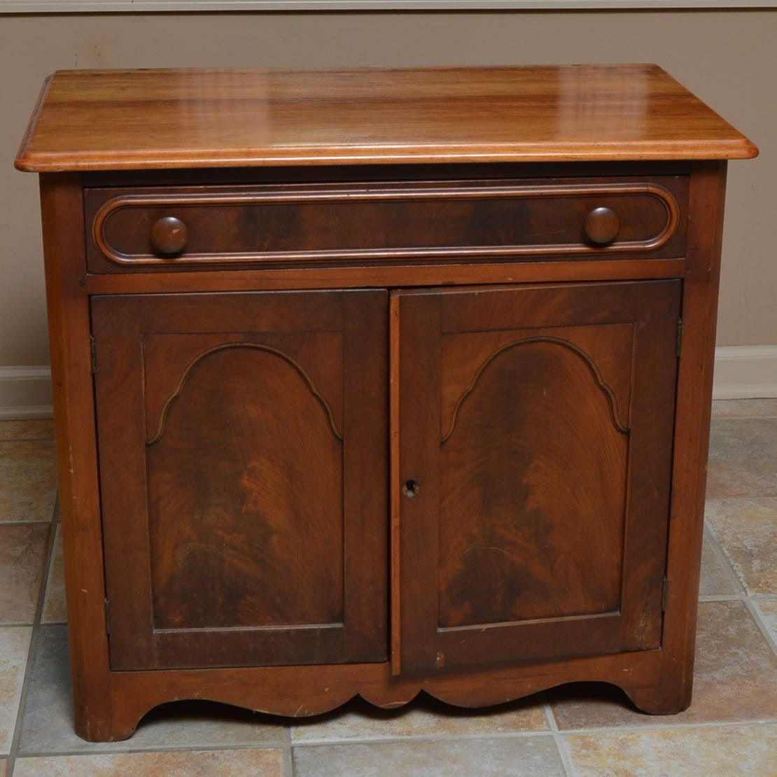 Antique Cherry And Mahogany Veneer Cabinet With Divided Interior
