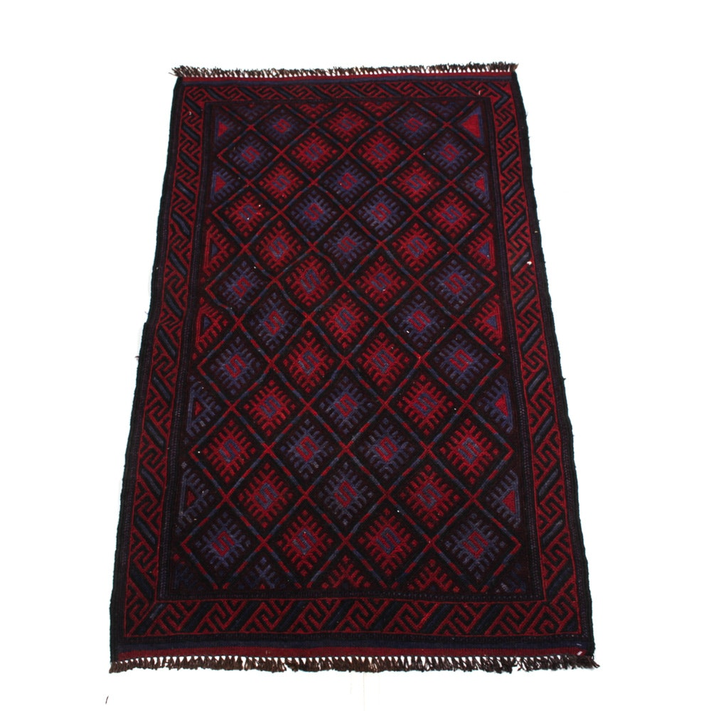 Hand-Knotted Vintage Turkish Accent Rug