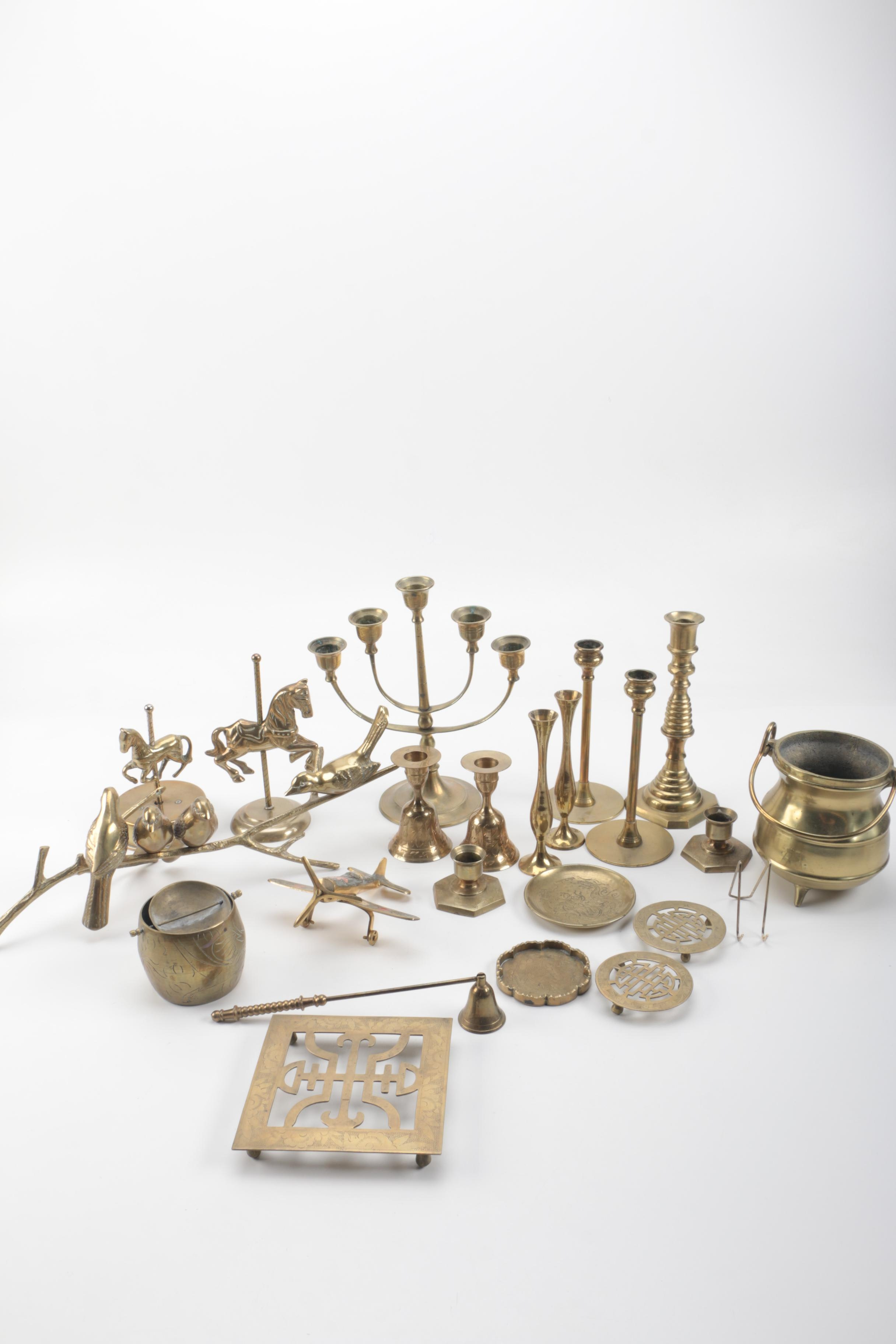 Brass Candles and Figural Decorations