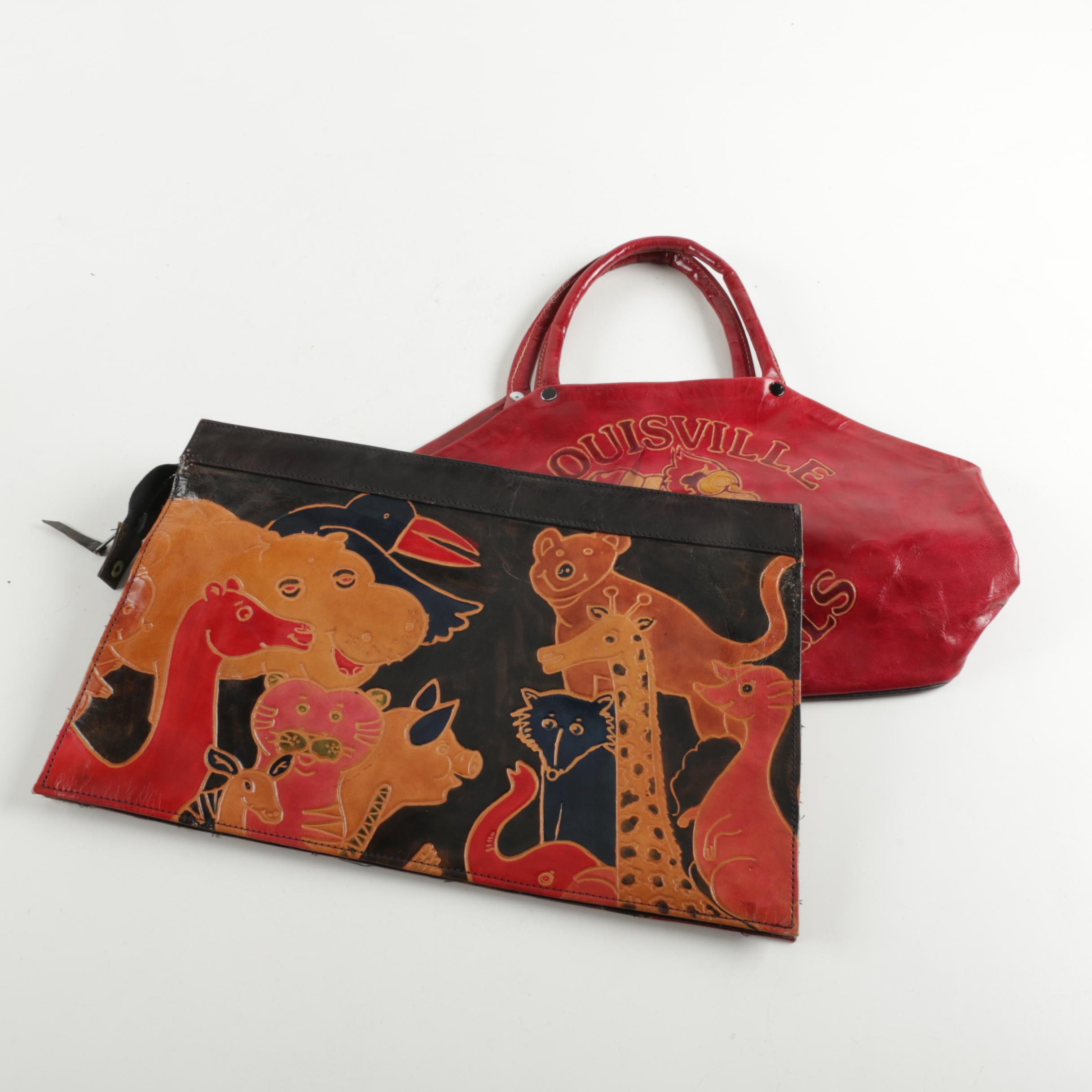 Hand-Tooled Leather Handbags Including Louisville Cardinals Handbag