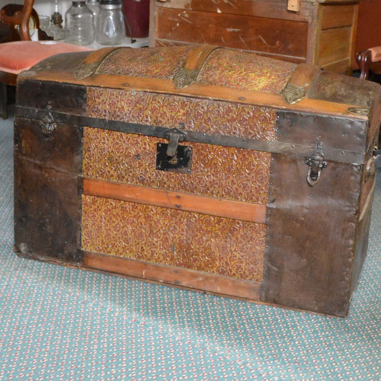 Antique Domed Travel Trunk