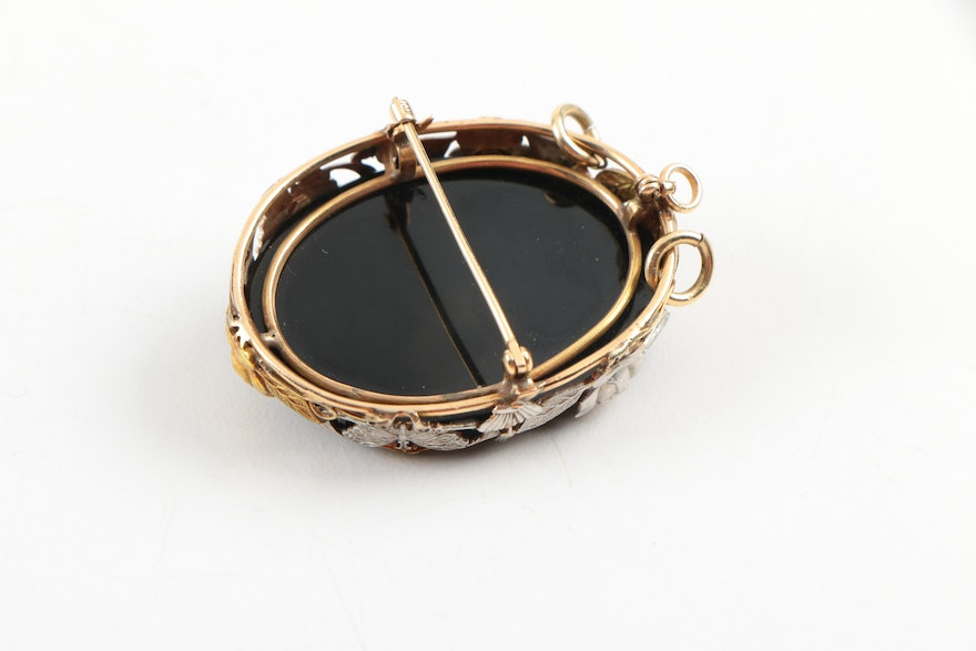 Antique Black Onyx Cameo Rings
