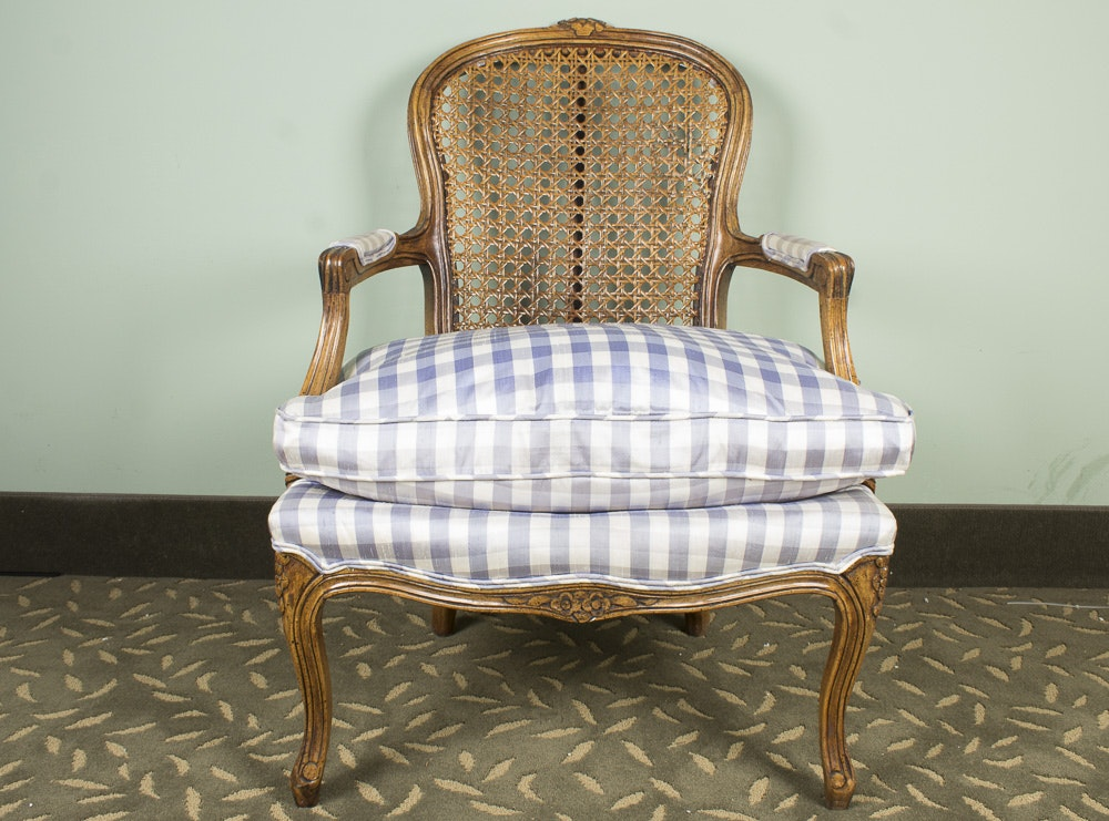 French Provincial Style Caned Arrmchair