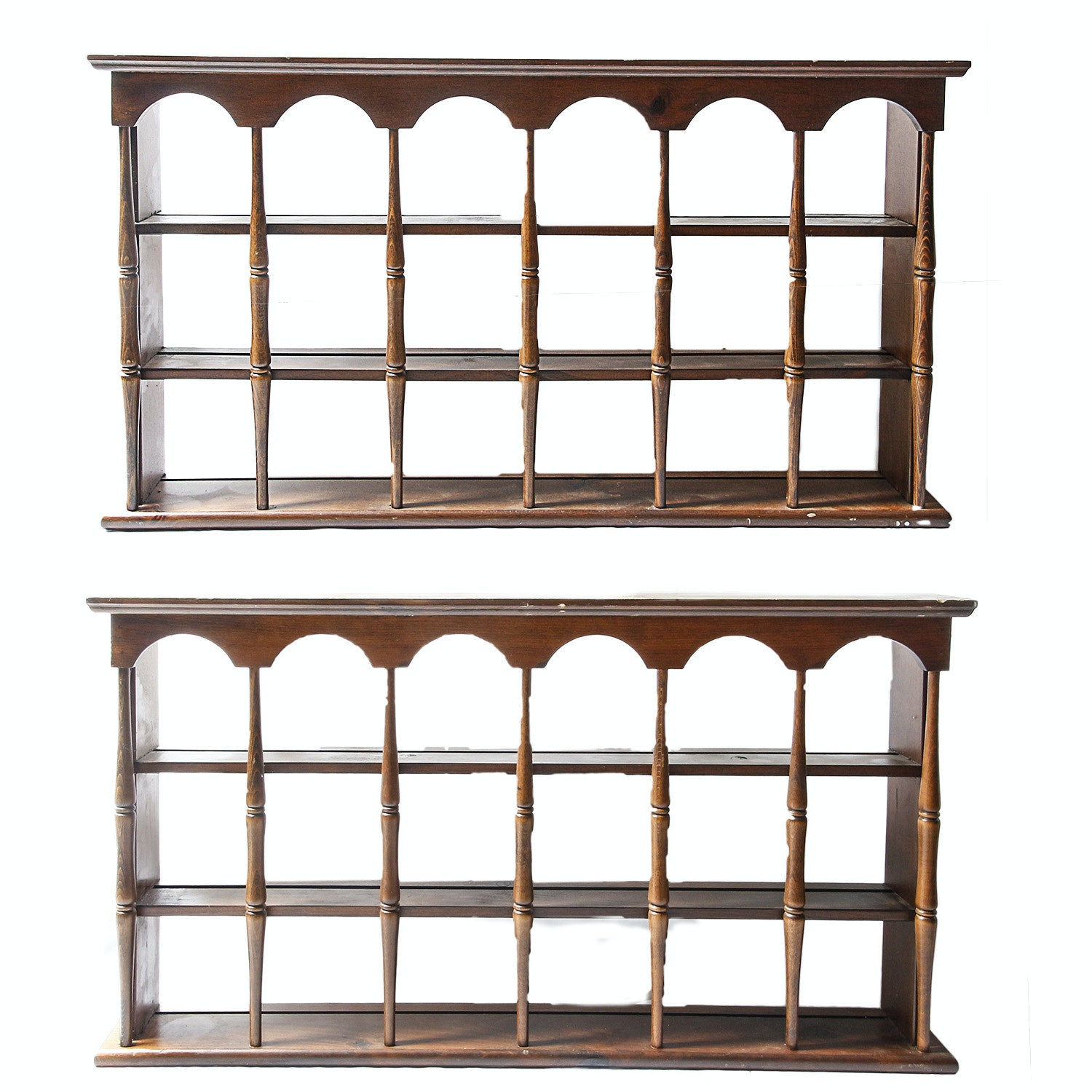 Pair of Wooden Plate Display Shelves