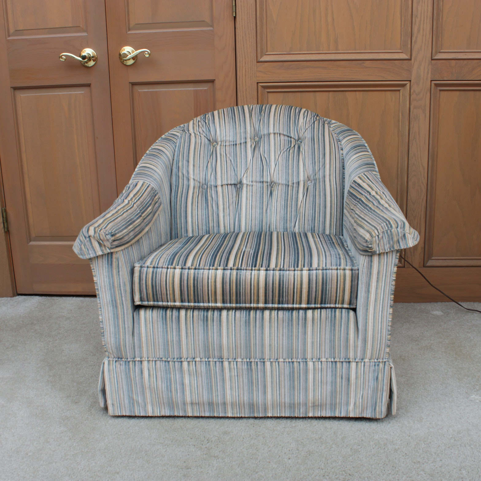 Vintage Striped Flexsteel Armchair