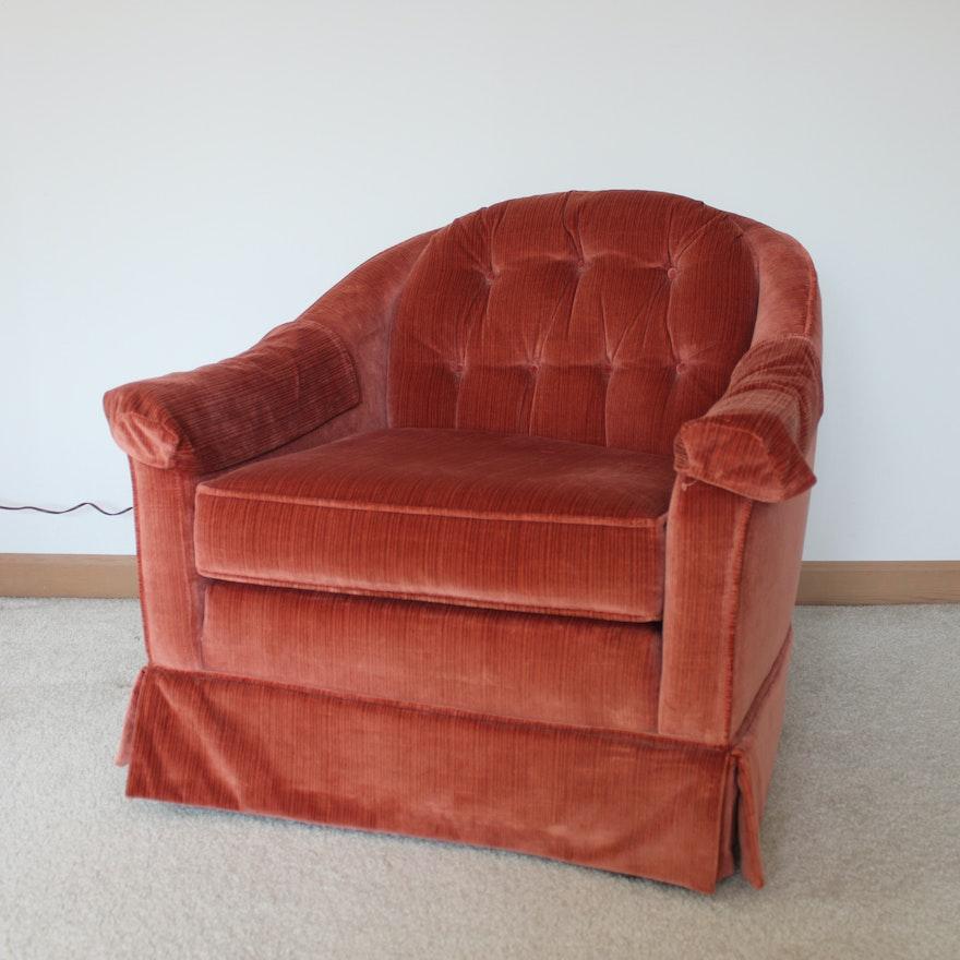Flexsteel Sofa Vintage: Vintage Red Flexsteel Velour Upholstered Armchair
