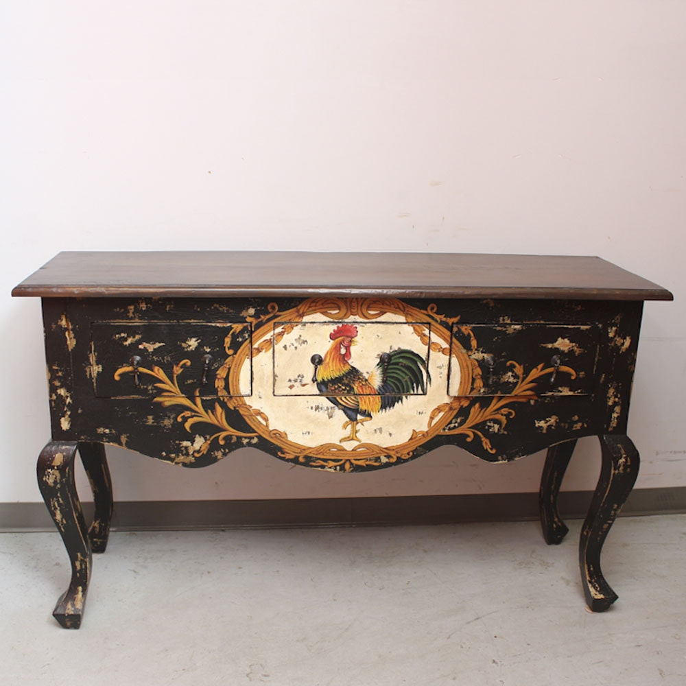 Contemporary Queen Anne Style Sideboard with Rooster Motif