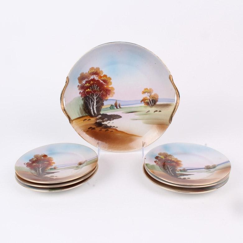 Chikaramachi Hand Painted Dessert Plates and Platter