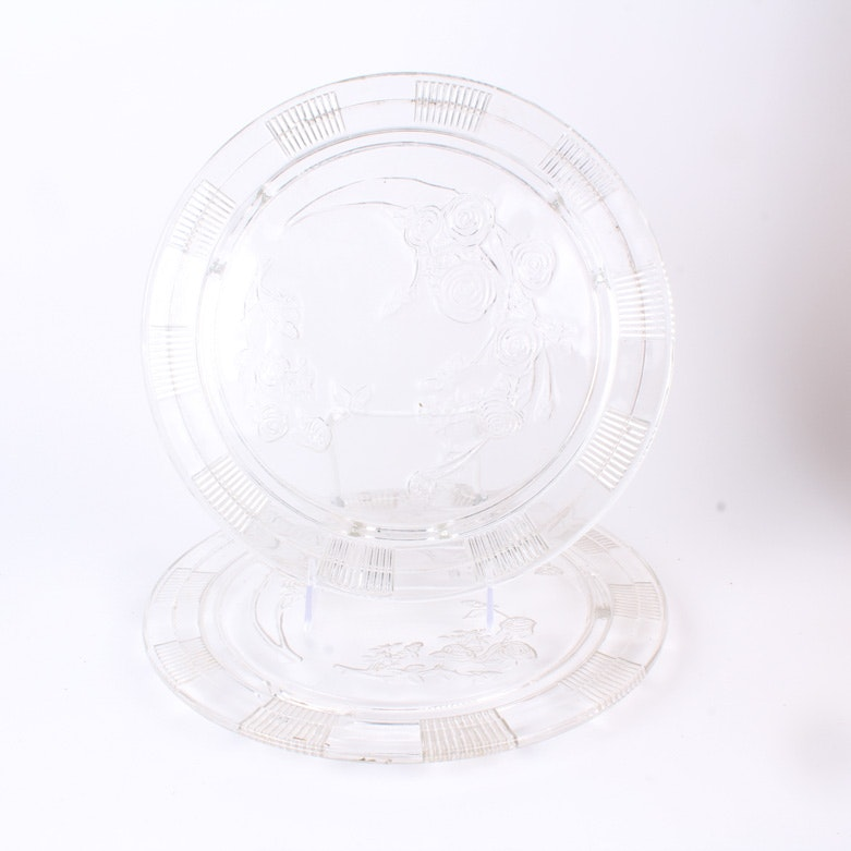"Pair of ""Sharon"" Clear Depression Glass Cake Plates by Federal Glass"