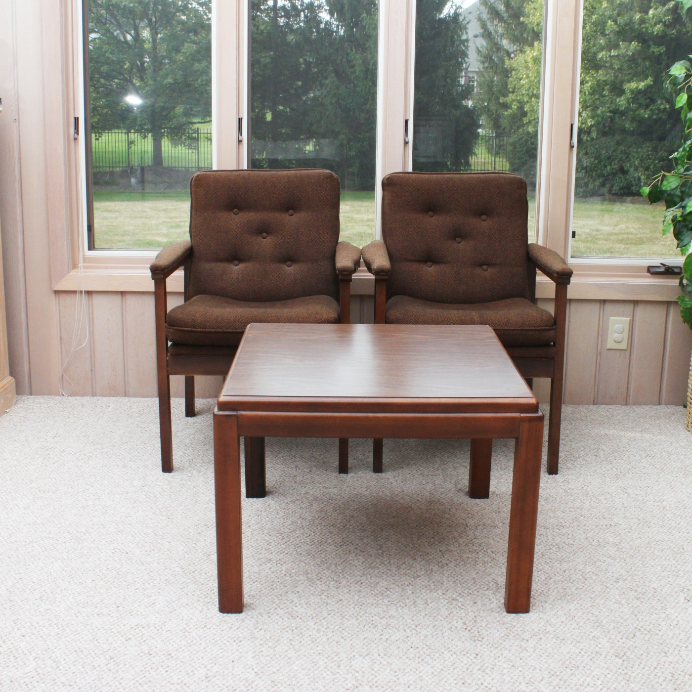 Two Office Chairs and a Lane Side Table