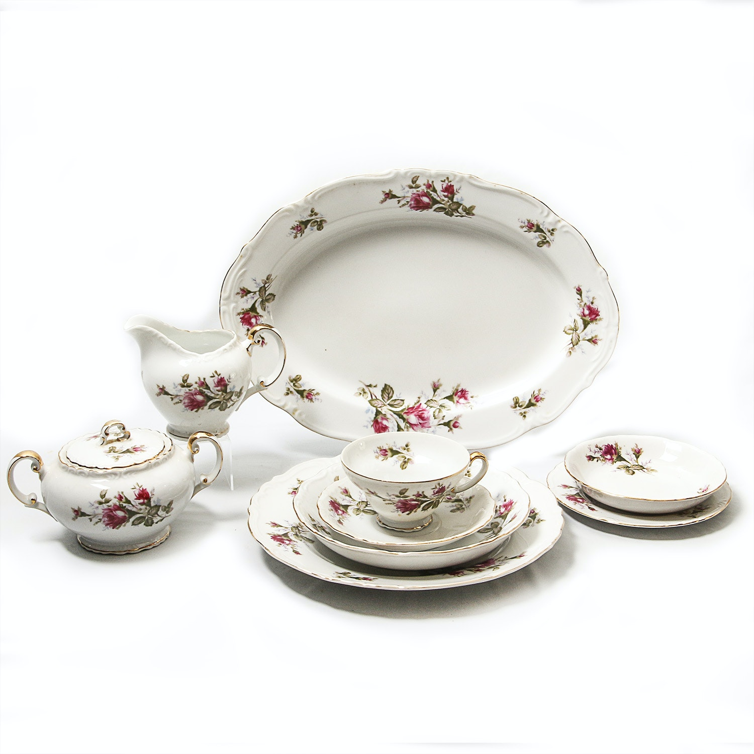 """Grouping of Ucagco Japan """"Old Roses"""" China Tableware"""