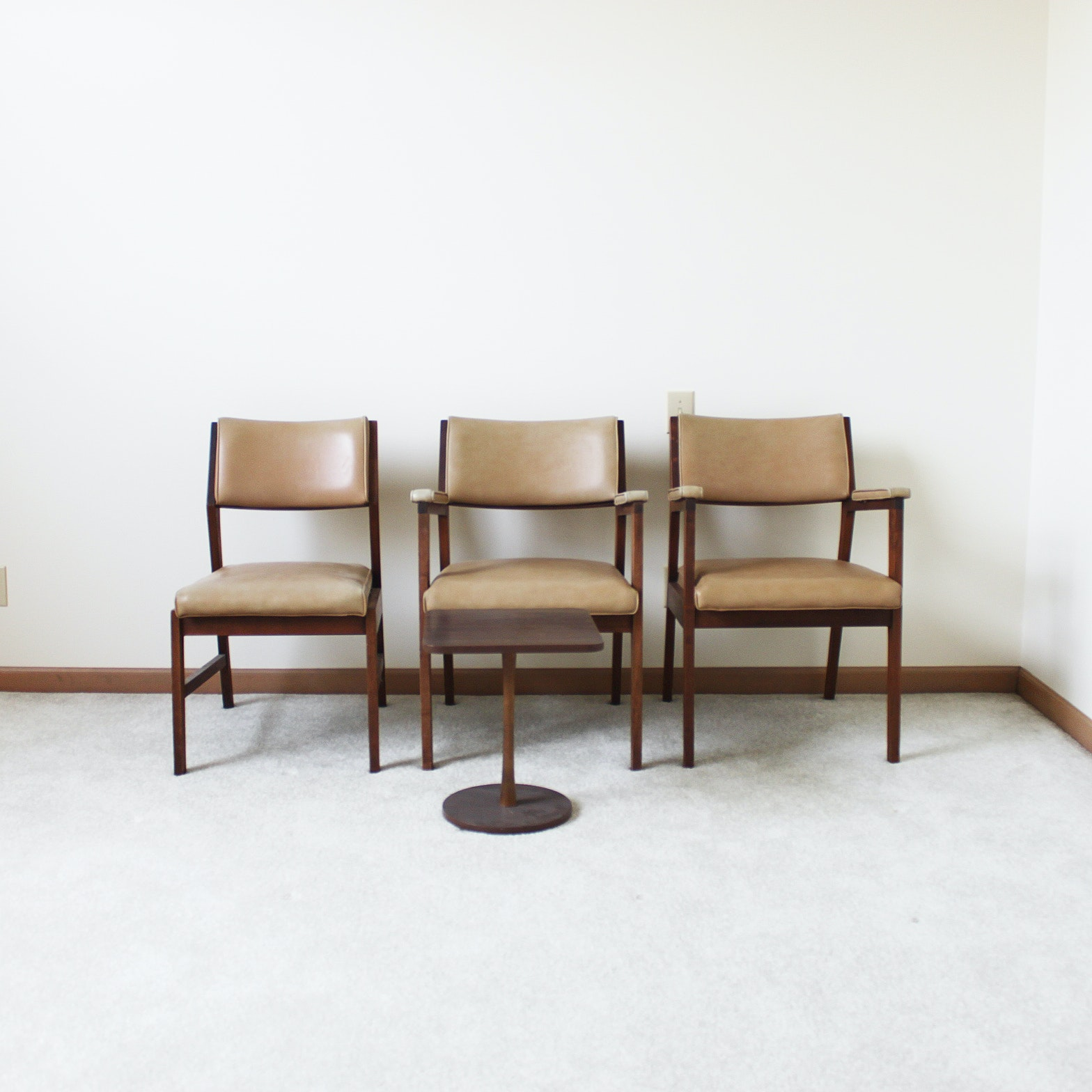 Vintage Mid-Century Alma Office Chairs and Side Table