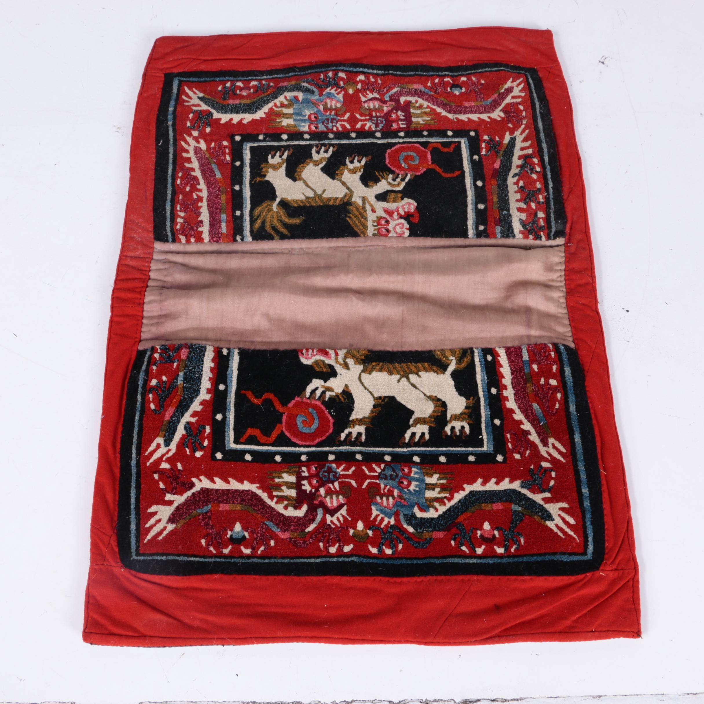 Hand-Knotted Tibetan Wool Saddle Blanket Rug