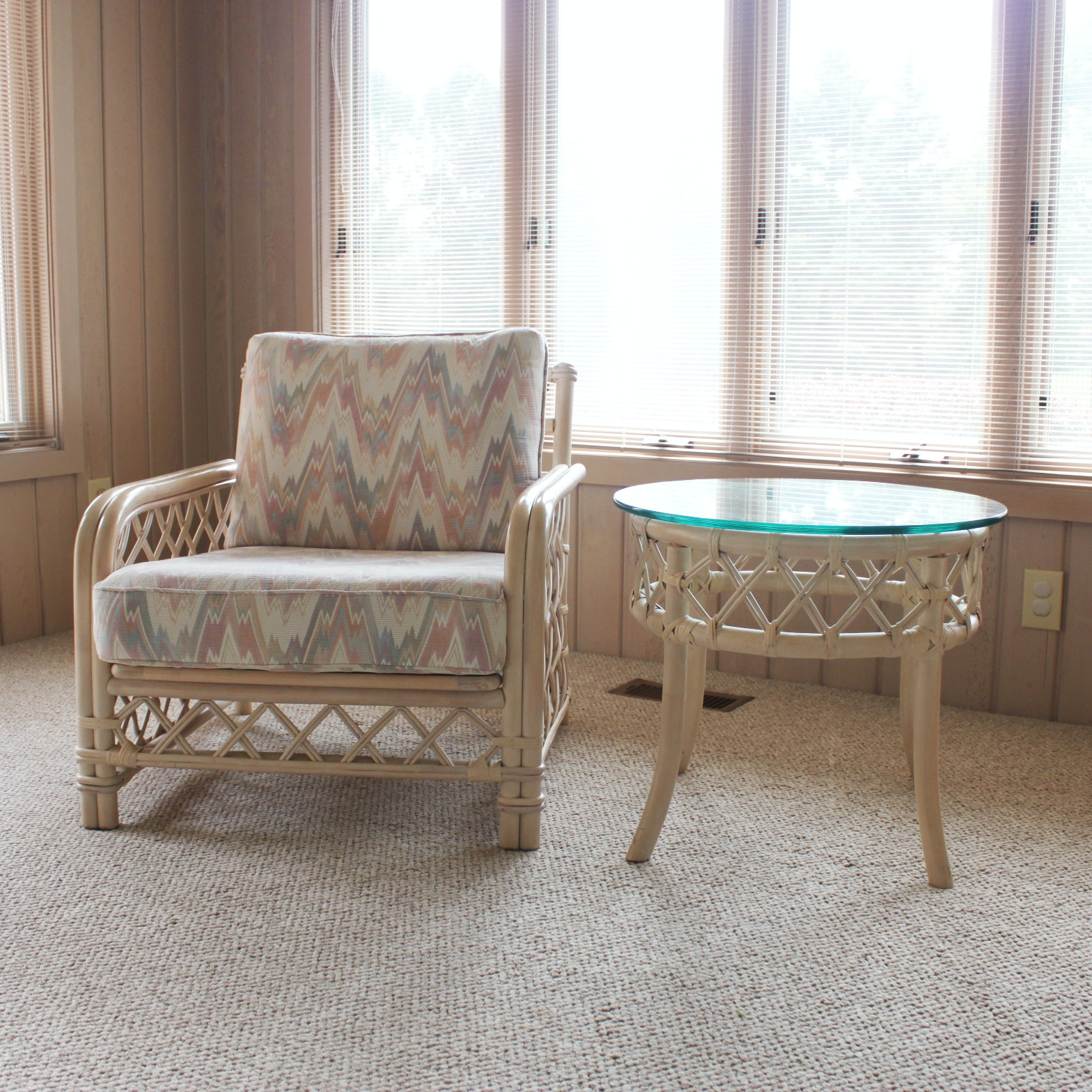 Ficks Reed Rattan Armchair and Side Table
