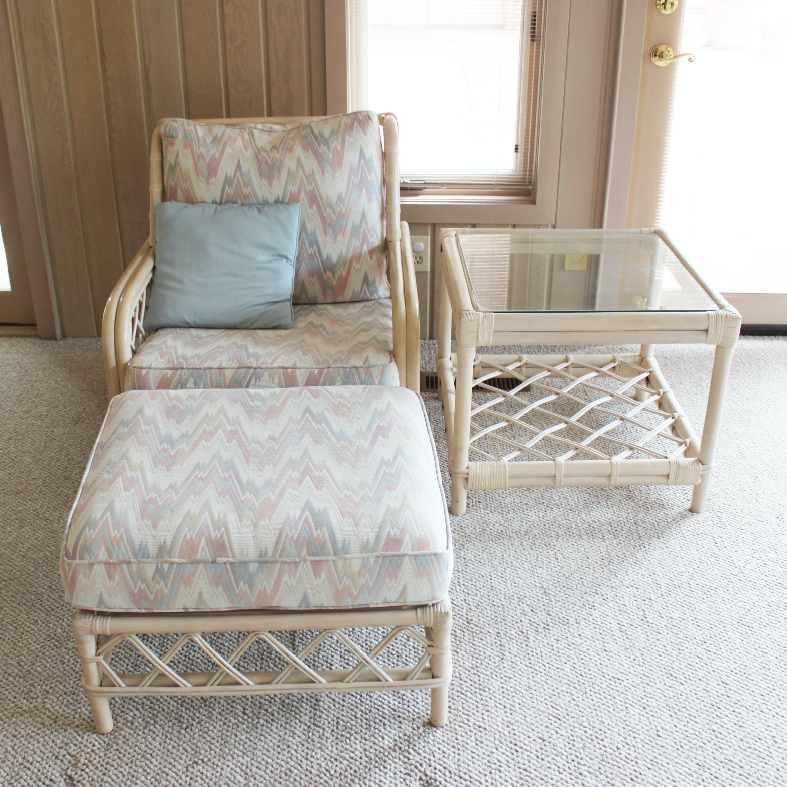 Ficks Reed Rattan Armchair, Ottoman and Side Table