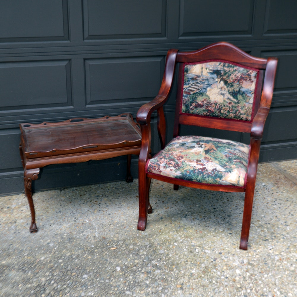 Victorian Style Armchair with Chippendale Style Tea Table