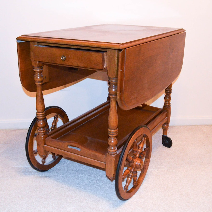 Vintaqe Drop Leaf Serving Cart By Kling Colonial Furniture Ebth
