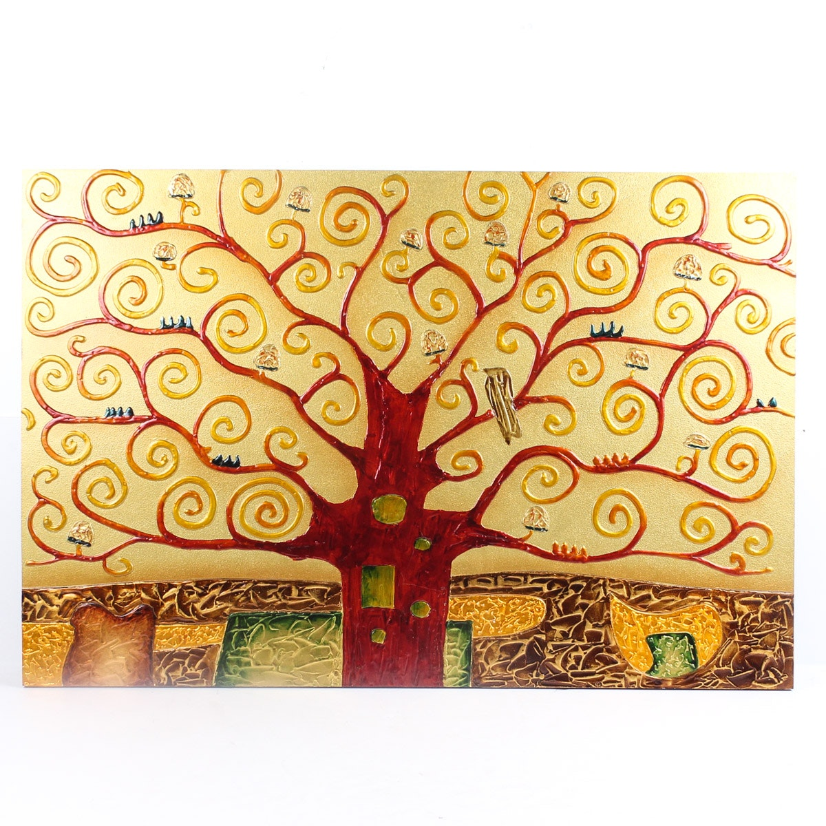 "Mixed Media Panel after Gustav Klimt ""Tree of Life"""
