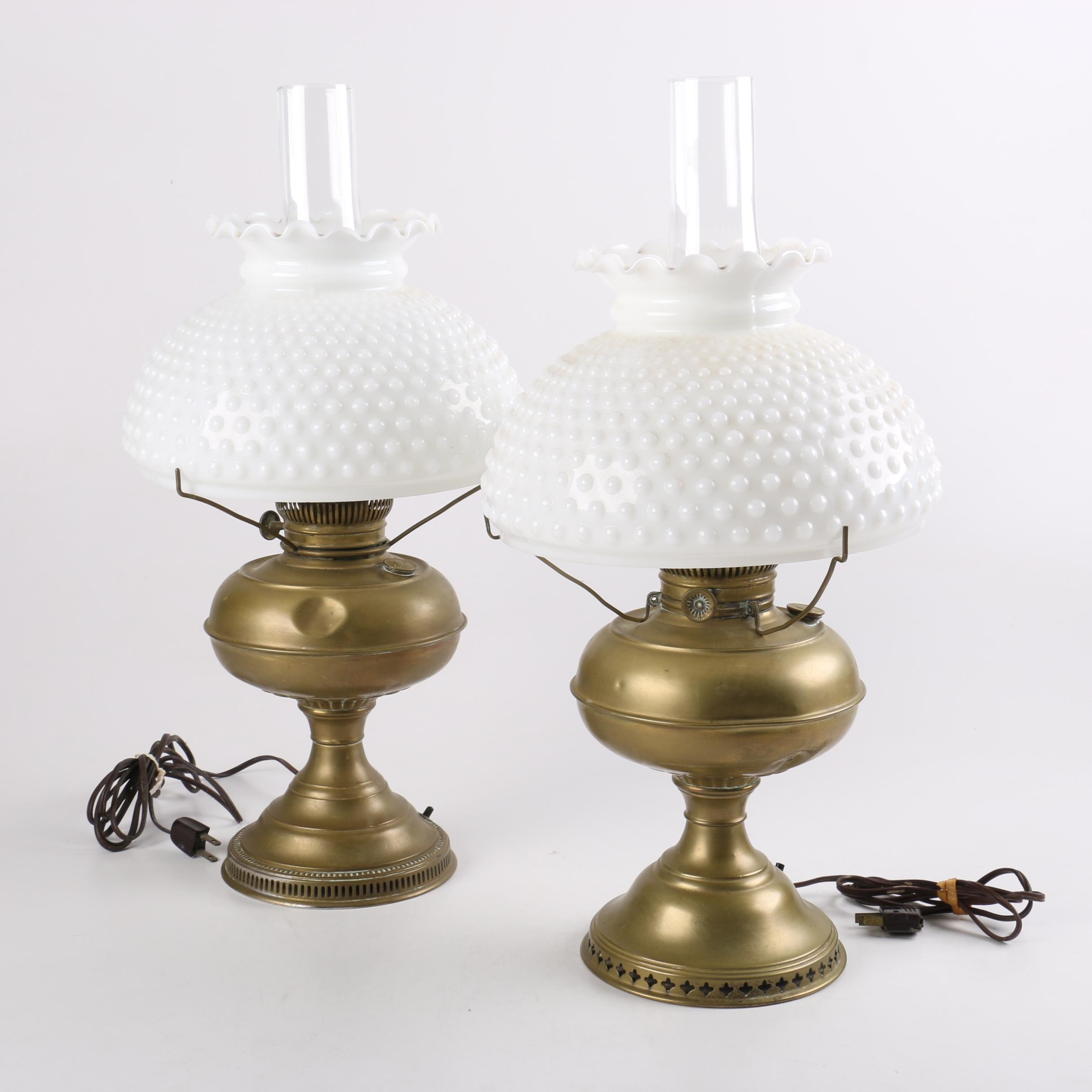 Brass Lamps with Fenton Style Glass Shades