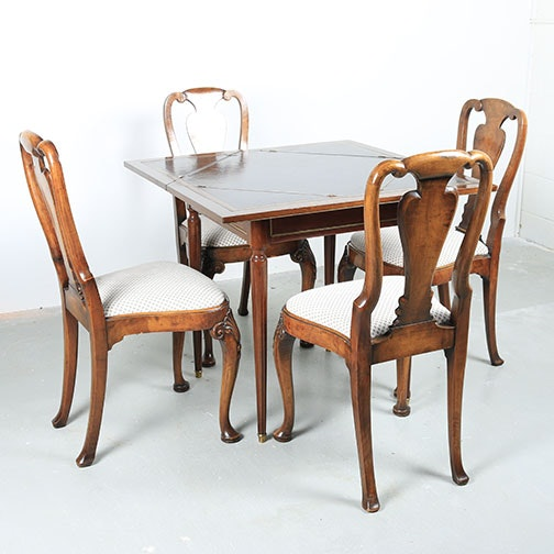 Antique Mahogany Queen Anne Style Handkerchief Table With Chairs ...