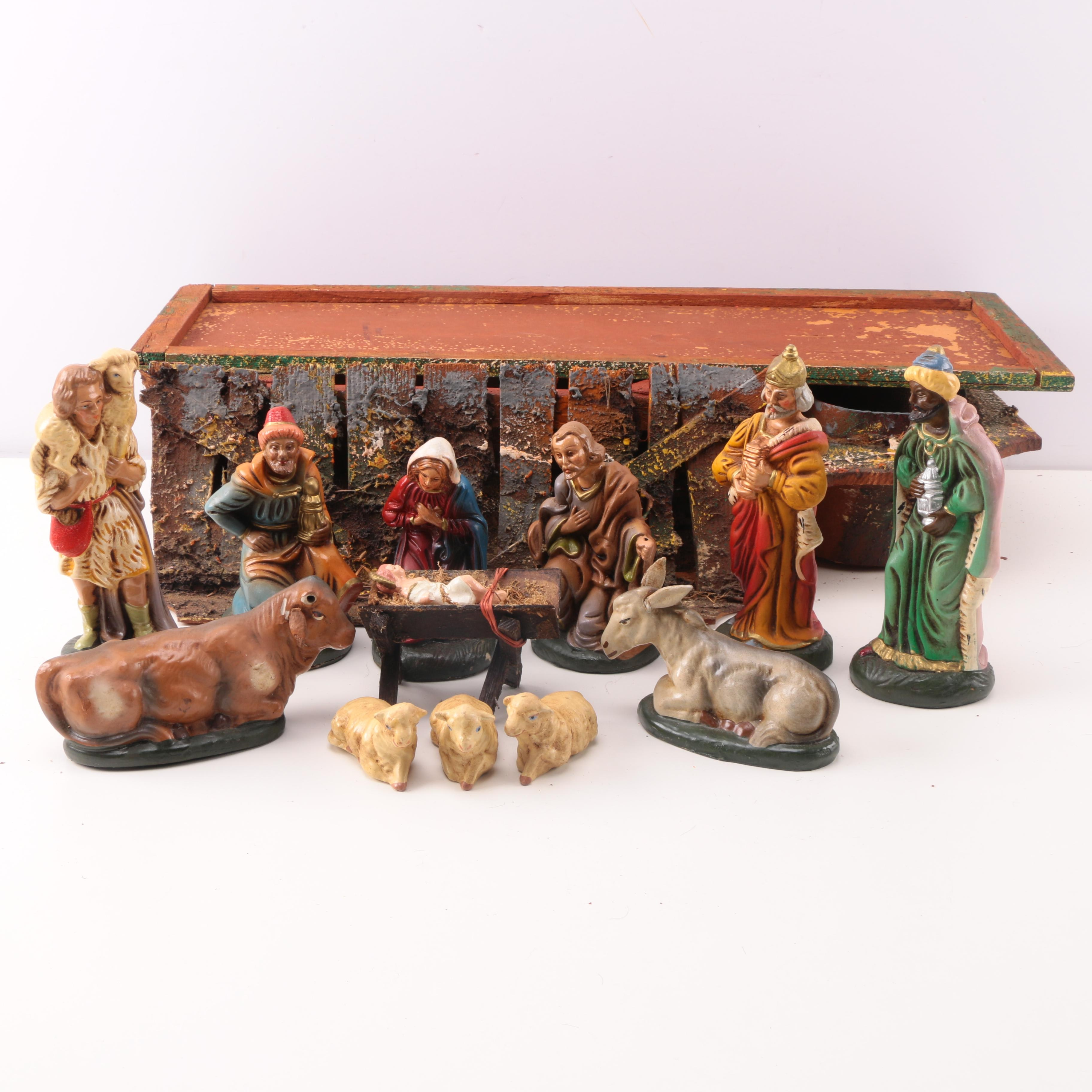 Nativity Figurines and Set with Storage from Western Germany