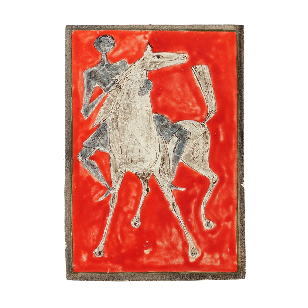 Giovanni Petucco Ceramic Wall Tile of Man on a Horse