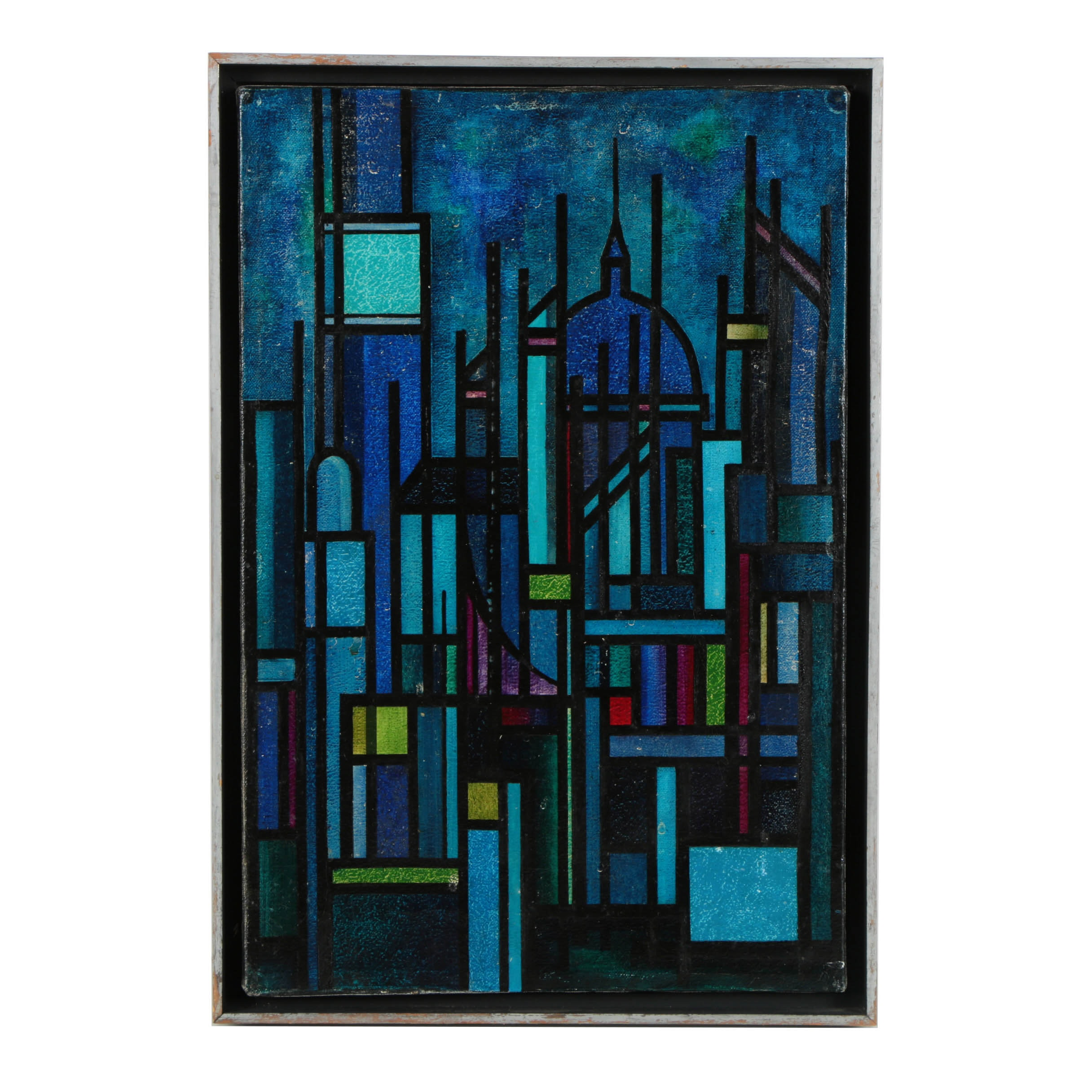 Mid-Century Oil Painting on Canvas of Abstract Cityscape