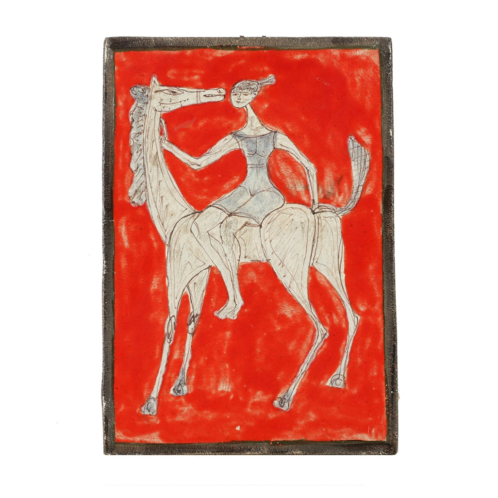 Giovanni Petucco Ceramic Wall Tile of Woman on a Horse