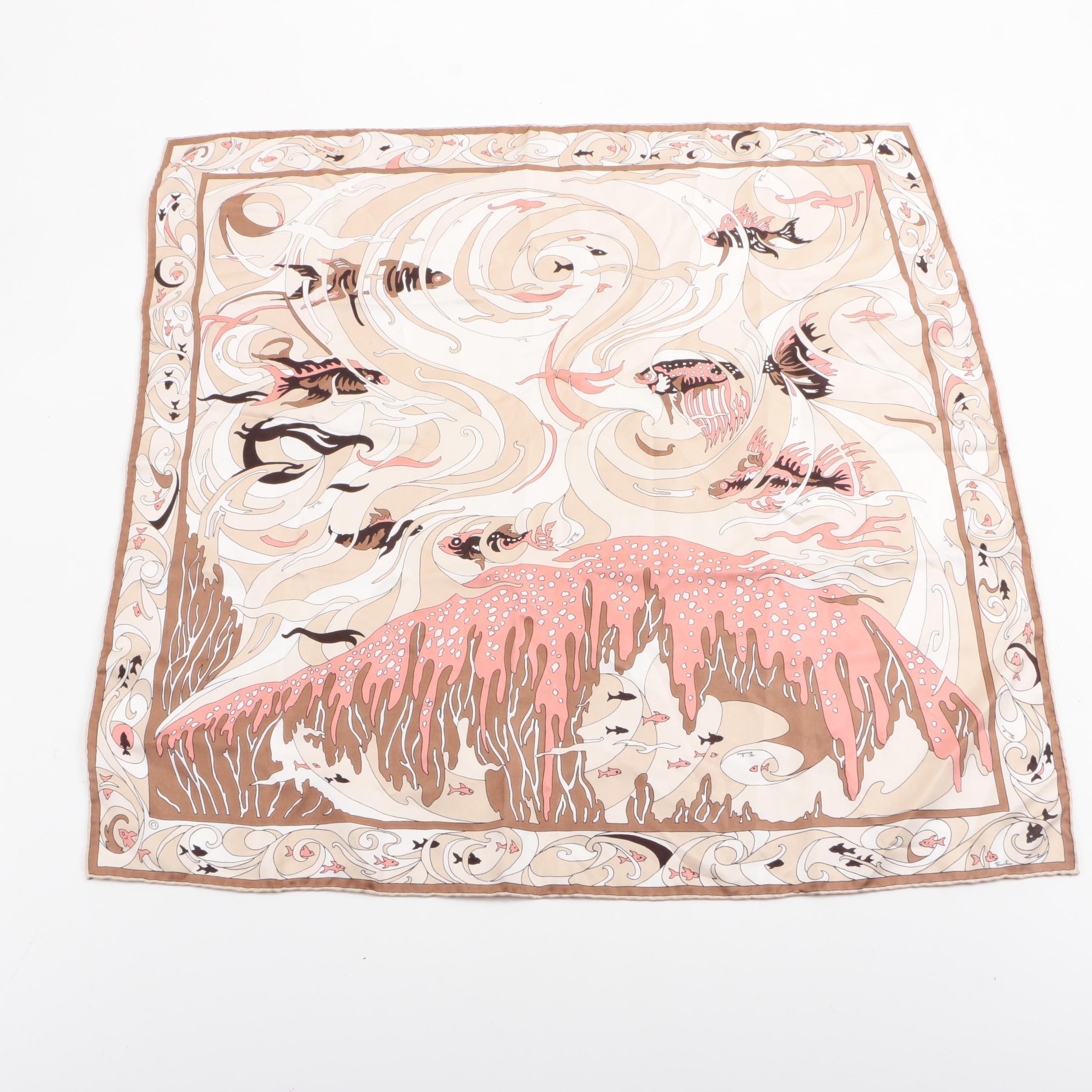 Pucci Pink and Brown Fish Print Silk Scarf