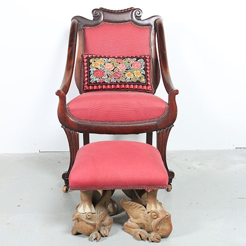 Empire Style Armchair with Signed Figural Footstool