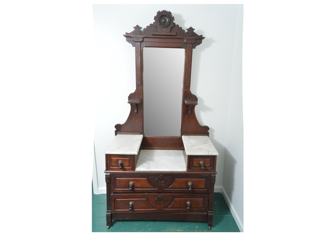 Antique Eastlake Oak Dressing Table with Mirror