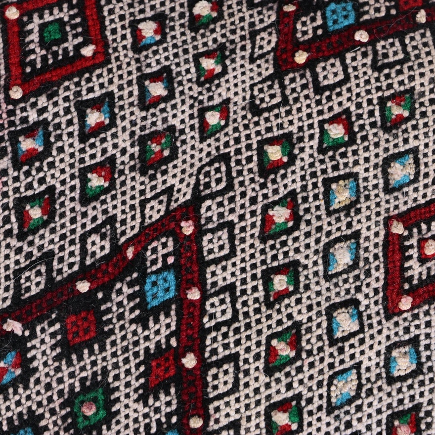 Handwoven And Embroidered Moroccan Area Rug And Throw