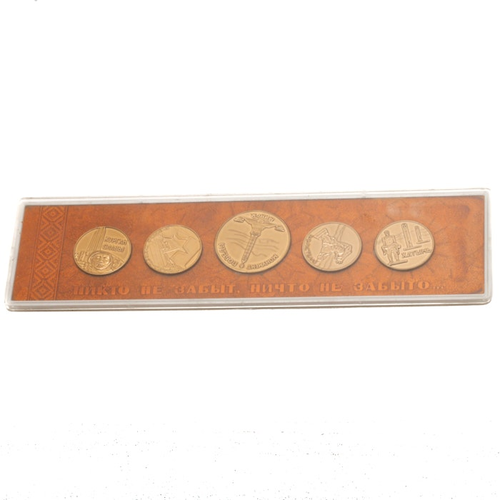 Set of Five Commemorative Russian Brass Medals