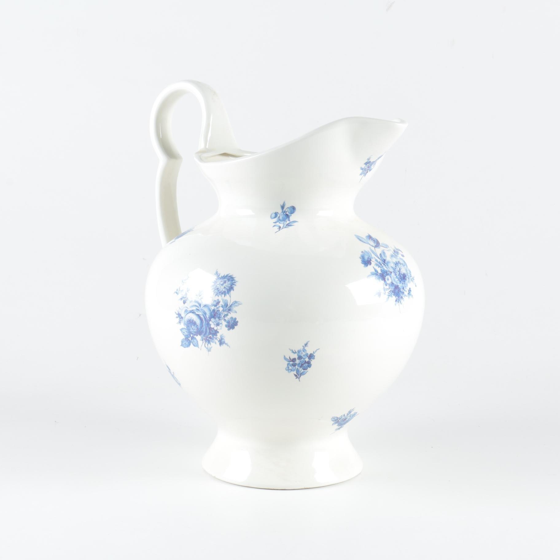 Vintage Floral Ceramic Pitcher