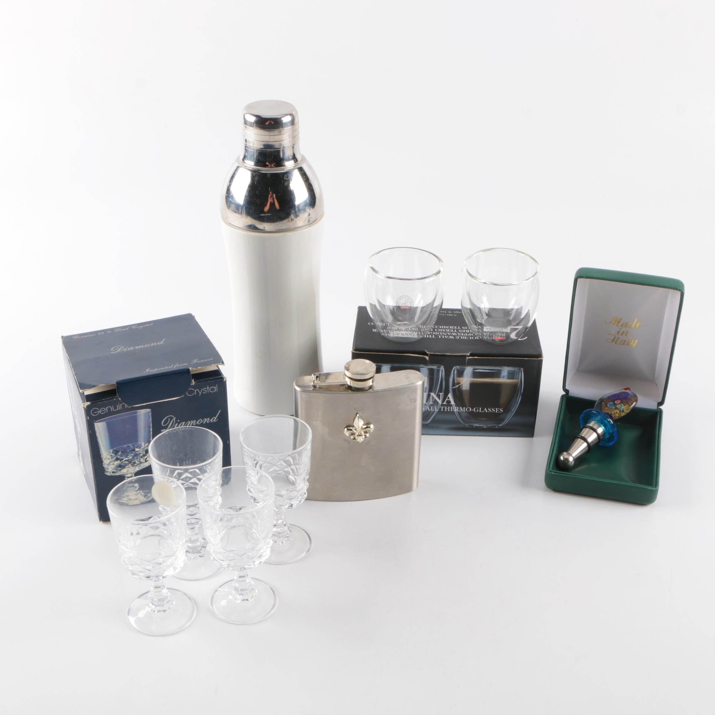 """Assorted Barware Including """"Diamond"""" by J.G. Durand Cordial Glasses"""