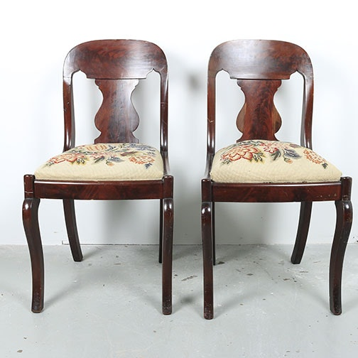Vintage Queen Anne Style Mahogany Side Chairs